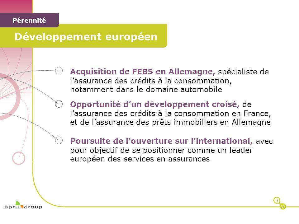 < Développement européen < Pérennité Acquisition de FEBS en Allemagne, spécialiste de lassurance des crédits à la consommation, notamment dans le doma