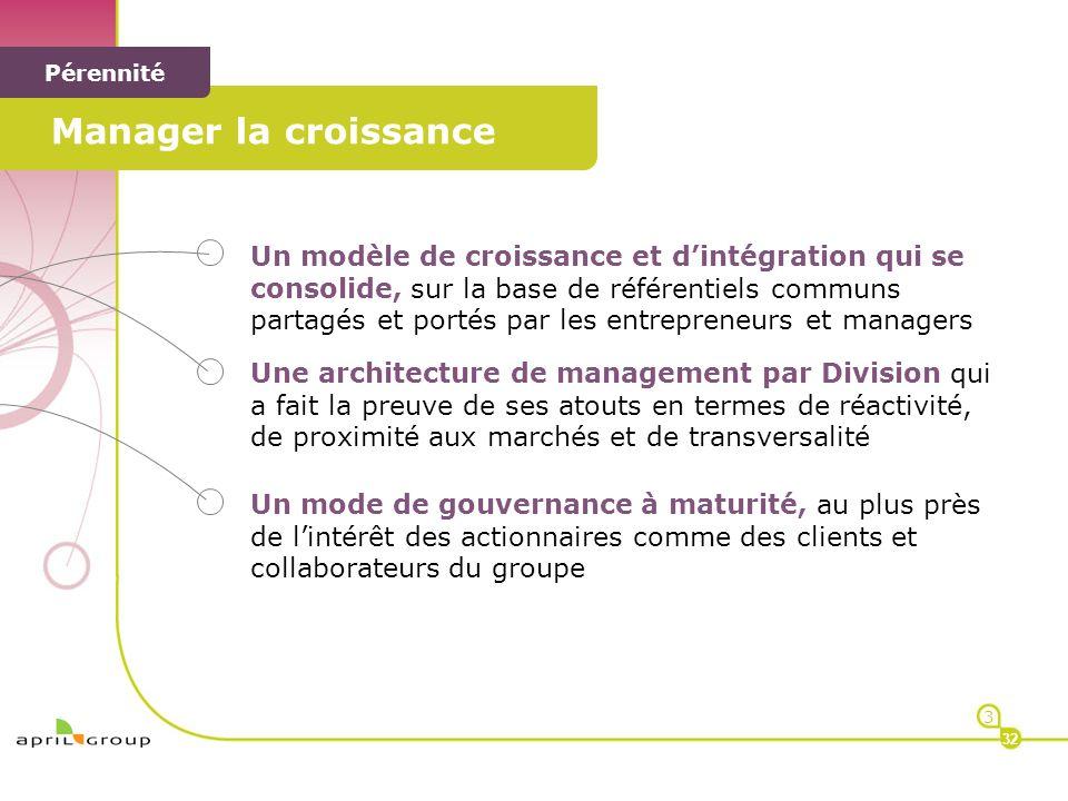 < Manager la croissance < Pérennité Un modèle de croissance et dintégration qui se consolide, sur la base de référentiels communs partagés et portés p