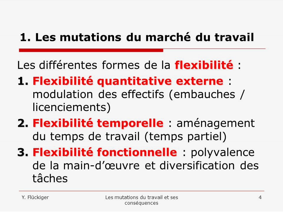Y. FlückigerLes mutations du travail et ses conséquences 3 1.
