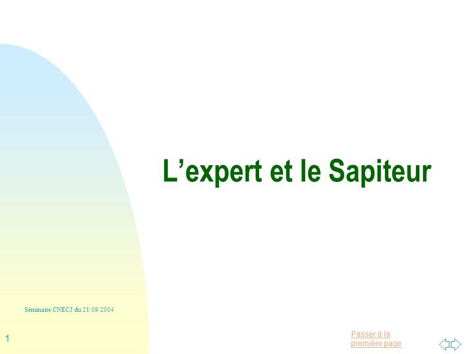 Passer à la première page Séminaire CNECJ du 21/09/2004 1 Lexpert et le Sapiteur