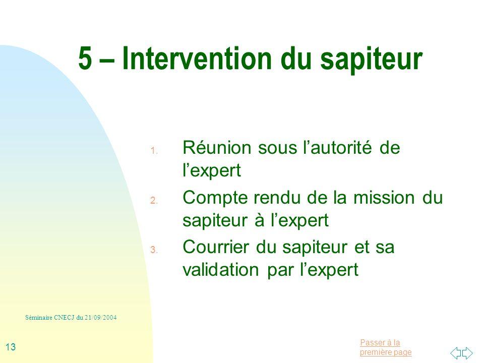 Passer à la première page Séminaire CNECJ du 21/09/2004 13 5 – Intervention du sapiteur 1.