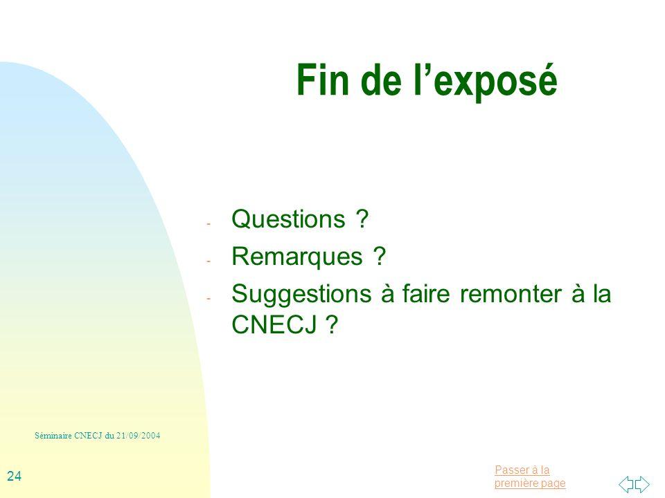 Passer à la première page Séminaire CNECJ du 21/09/2004 24 Fin de lexposé - Questions .