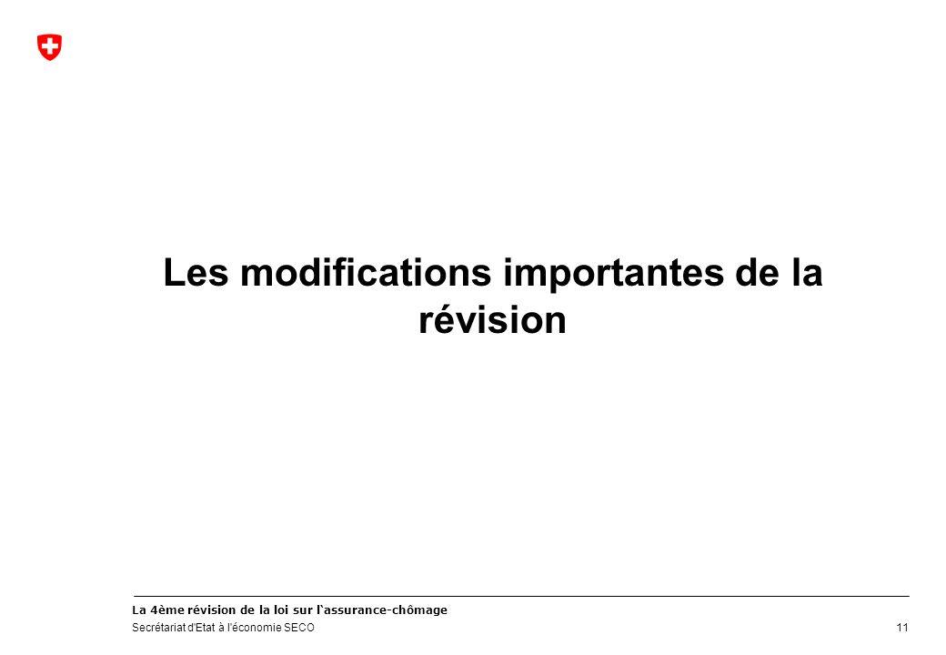 La 4ème révision de la loi sur lassurance-chômage Secrétariat d'Etat à l'économie SECO Les modifications importantes de la révision 11