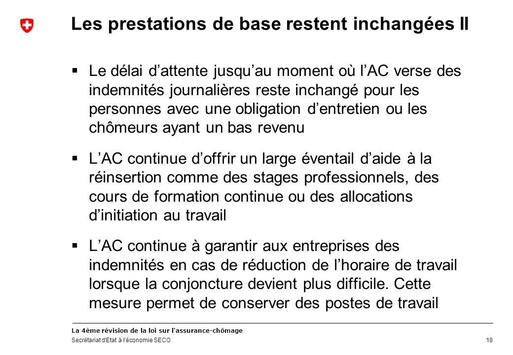 La 4ème révision de la loi sur lassurance-chômage Secrétariat d'Etat à l'économie SECO Les prestations de base restent inchangées II Le délai dattente
