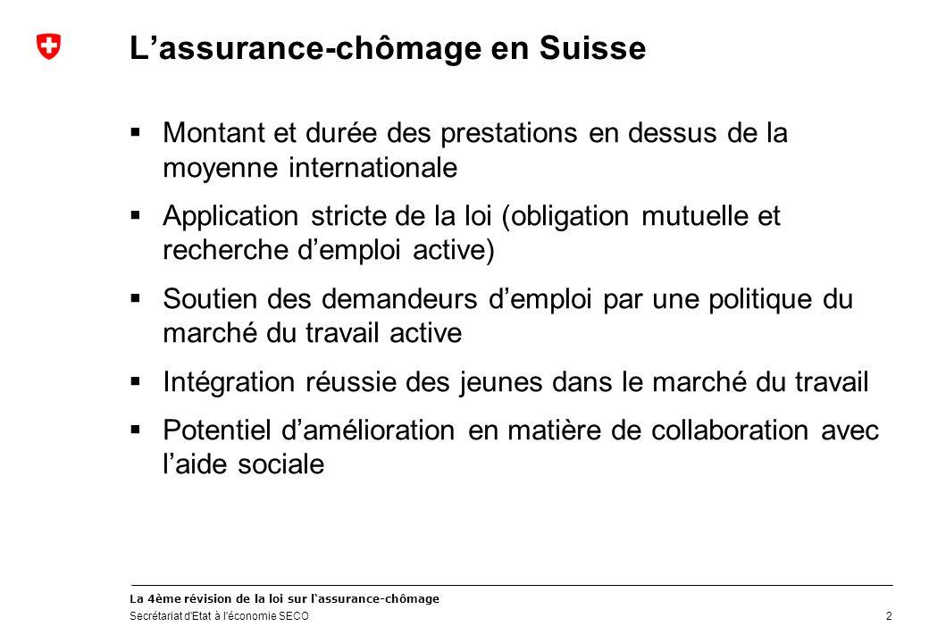 La 4ème révision de la loi sur lassurance-chômage Secrétariat d'Etat à l'économie SECO Lassurance-chômage en Suisse Montant et durée des prestations e