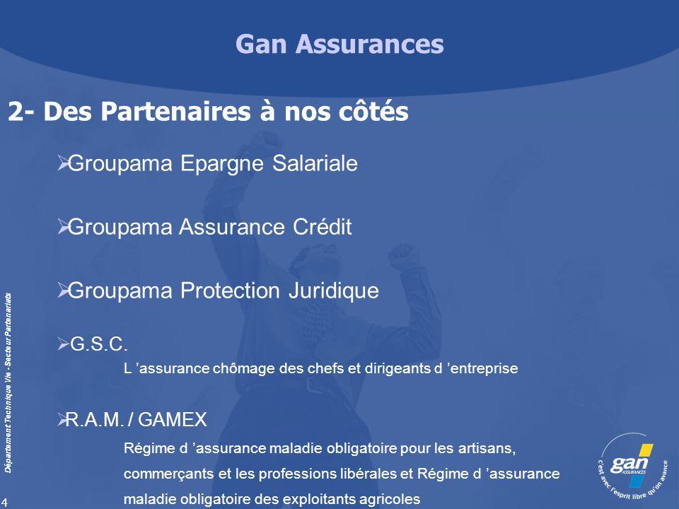 Gan Assurances Département Technique Vie - Secteur Partenariats 4 Groupama Epargne Salariale Groupama Assurance Crédit Groupama Protection Juridique G