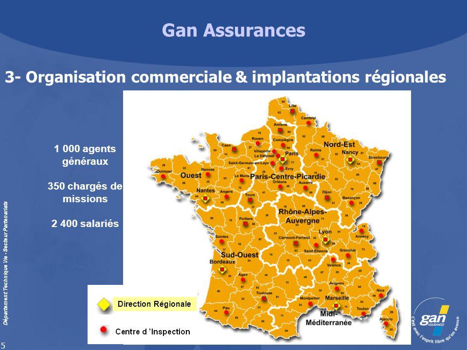 Gan Assurances Département Technique Vie - Secteur Partenariats 5 Direction Régionale 3- Organisation commerciale & implantations régionales 1 000 age