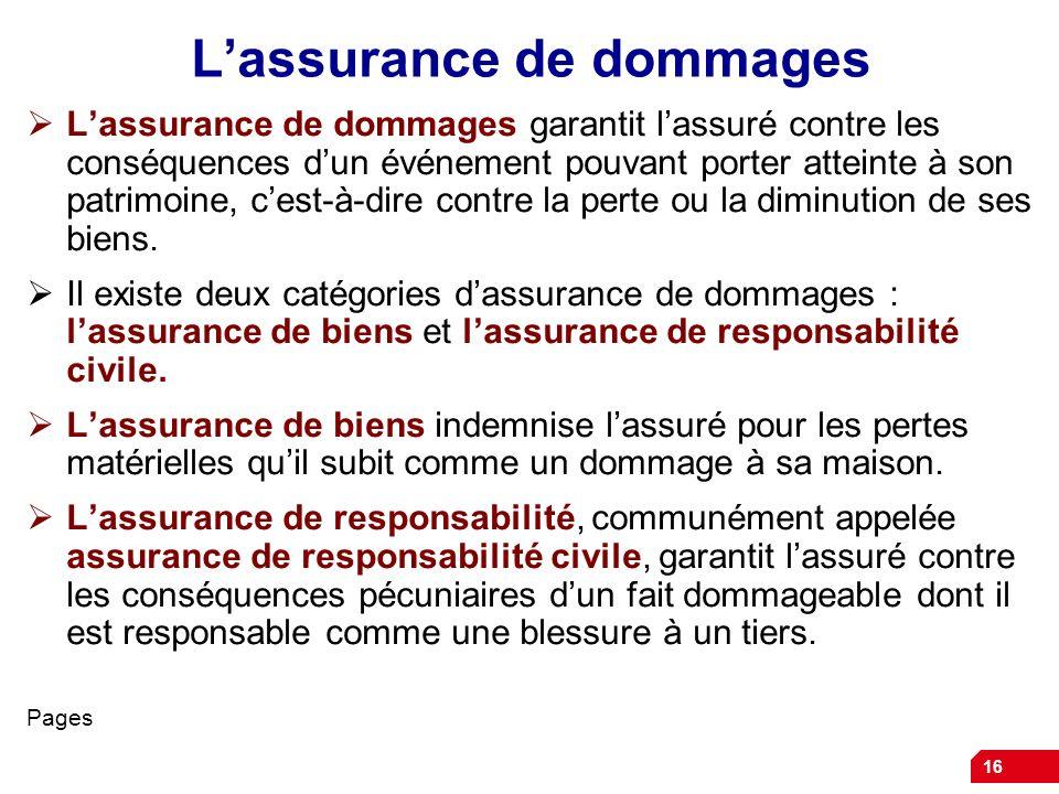 16 Lassurance de dommages Lassurance de dommages garantit lassuré contre les conséquences dun événement pouvant porter atteinte à son patrimoine, cest