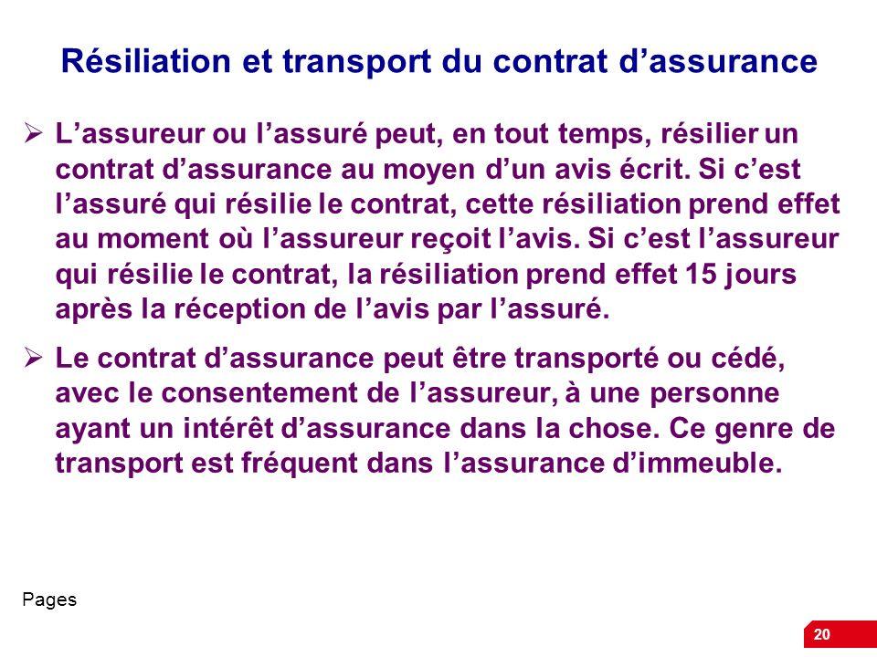 20 Résiliation et transport du contrat dassurance Lassureur ou lassuré peut, en tout temps, résilier un contrat dassurance au moyen dun avis écrit. Si