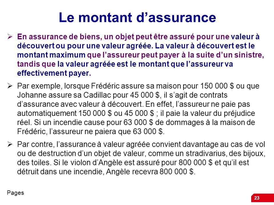 23 Le montant dassurance En assurance de biens, un objet peut être assuré pour une valeur à découvert ou pour une valeur agréée. La valeur à découvert
