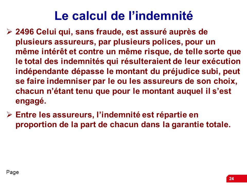 24 Le calcul de lindemnité 2496 Celui qui, sans fraude, est assuré auprès de plusieurs assureurs, par plusieurs polices, pour un même intérêt et contr
