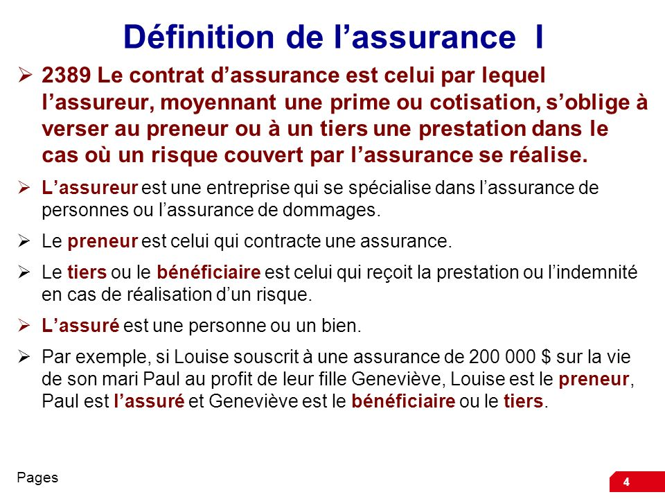 4 Définition de lassurance I 2389 Le contrat dassurance est celui par lequel lassureur, moyennant une prime ou cotisation, soblige à verser au preneur