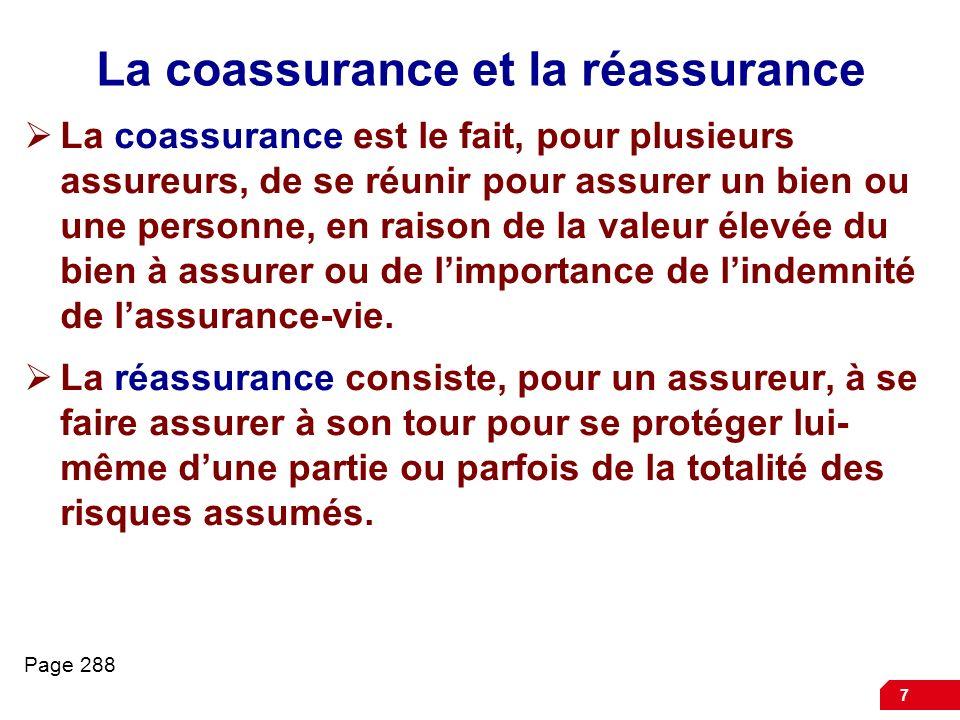 7 La coassurance et la réassurance La coassurance est le fait, pour plusieurs assureurs, de se réunir pour assurer un bien ou une personne, en raison