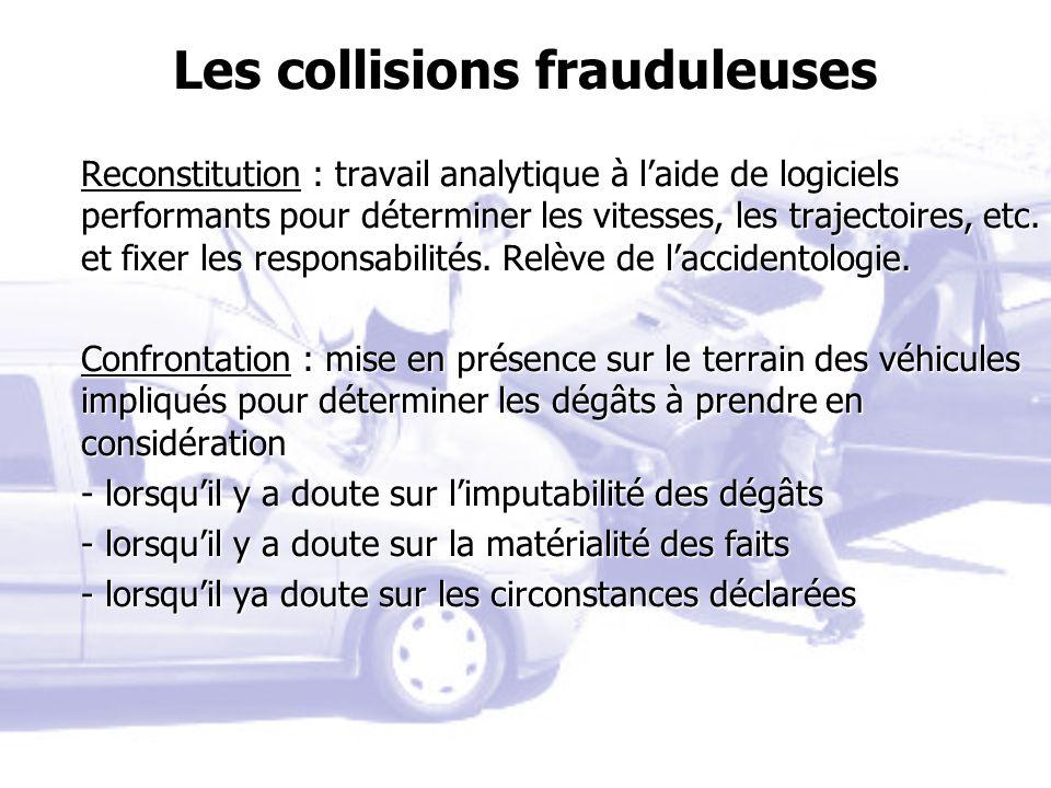 Les collisions frauduleuses Reconstitution : travail analytique à laide de logiciels performants pour déterminer les vitesses, les trajectoires, etc.