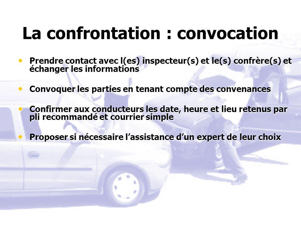 La confrontation : convocation Prendre contact avec l(es) inspecteur(s) et le(s) confrère(s) et échanger les informations Prendre contact avec l(es) i