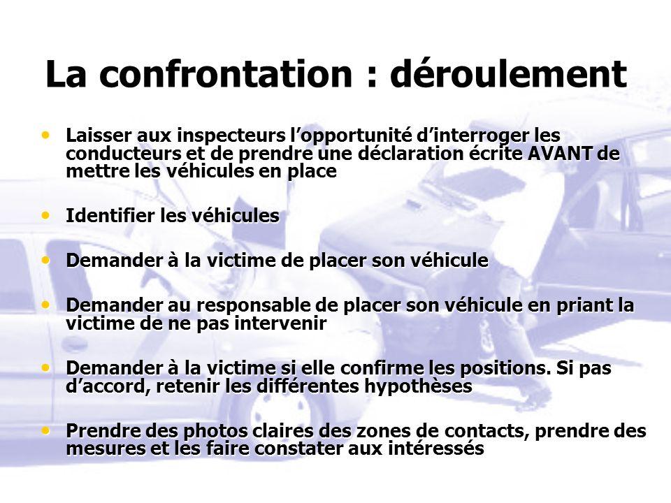 La confrontation : déroulement Laisser aux inspecteurs lopportunité dinterroger les conducteurs et de prendre une déclaration écrite AVANT de mettre l