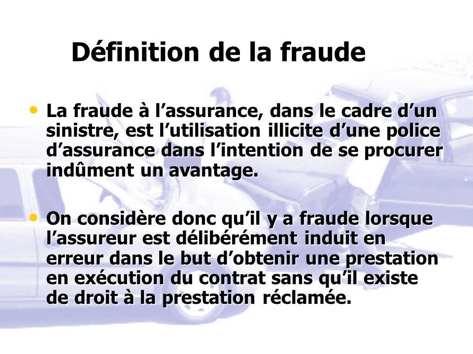 Définition de la fraude La fraude à lassurance, dans le cadre dun sinistre, est lutilisation illicite dune police dassurance dans lintention de se pro