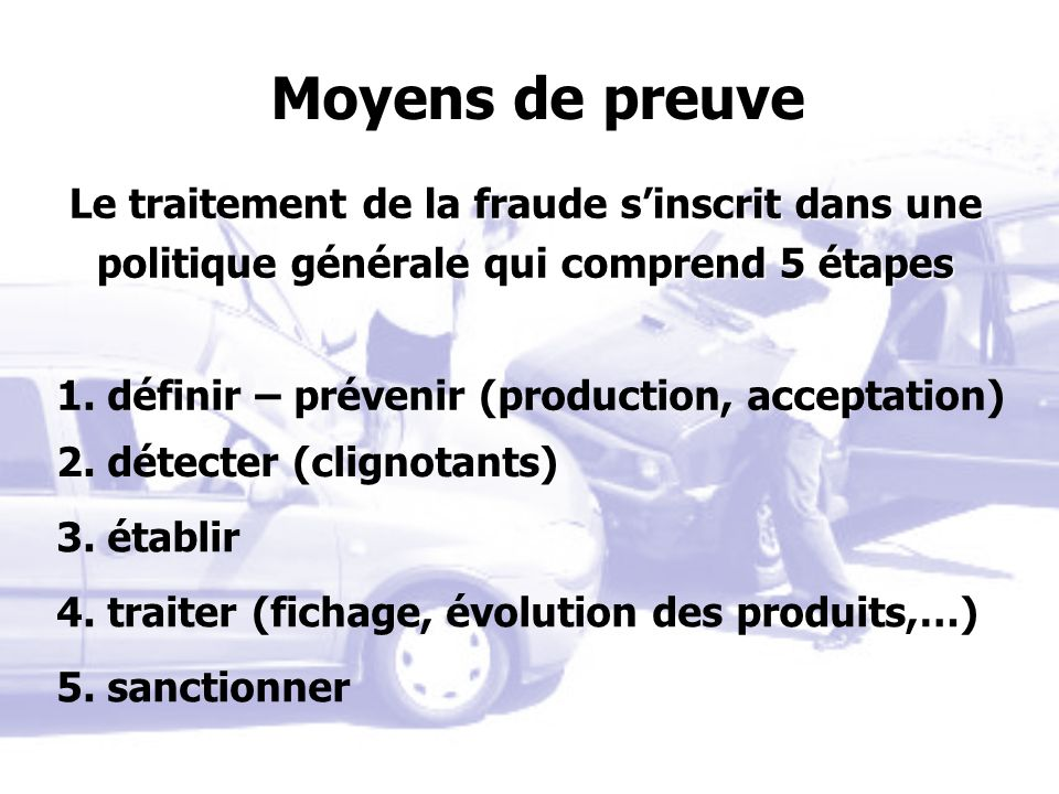 1. définir – prévenir (production, acceptation) 2. détecter (clignotants) 3. établir 4. traiter (fichage, évolution des produits,…) 5. sanctionner Moy