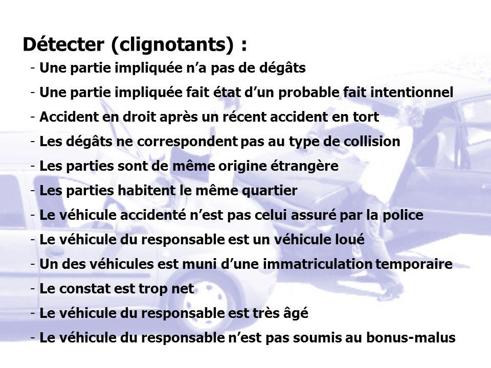Détecter (clignotants) : - Une partie impliquée na pas de dégâts - Une partie impliquée fait état dun probable fait intentionnel - Accident en droit a