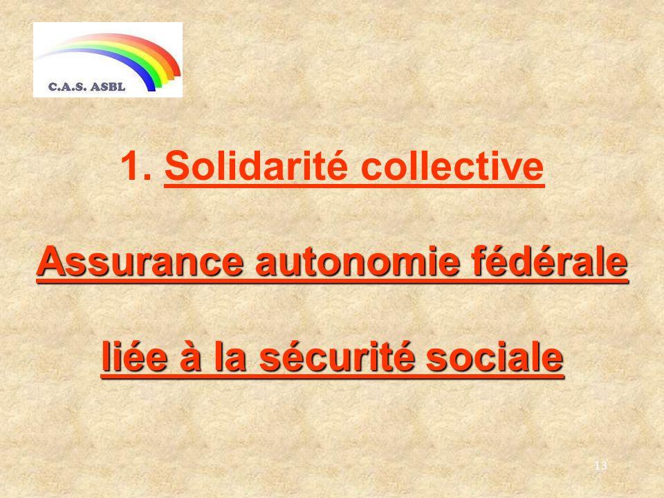 13 1. Solidarité collective Assurance autonomie fédérale liée à la sécurité sociale