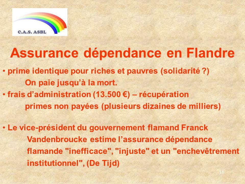 16 Assurance dépendance en Flandre prime identique pour riches et pauvres (solidarité ) On paie jusquà la mort.