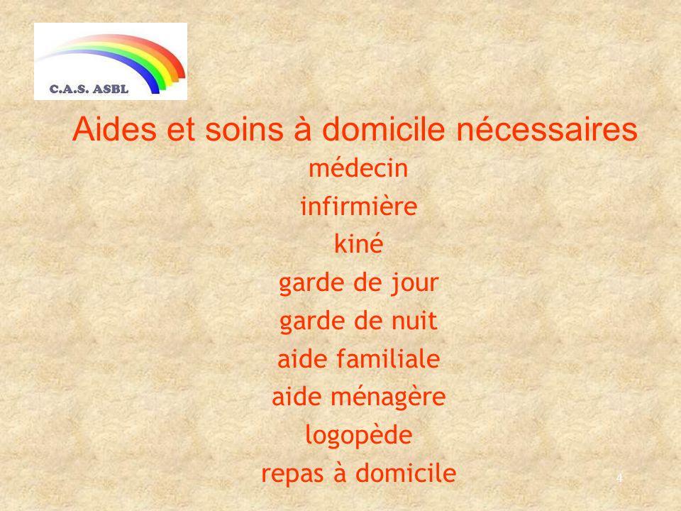 4 Aides et soins à domicile nécessaires médecin infirmière kiné garde de jour garde de nuit aide familiale aide ménagère logopède repas à domicile