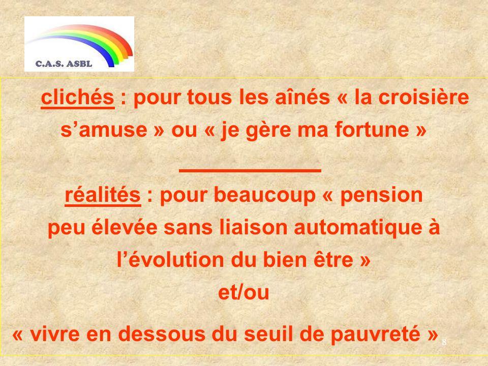 8 clichés : pour tous les aînés « la croisière samuse » ou « je gère ma fortune » réalités : pour beaucoup « pension peu élevée sans liaison automatique à lévolution du bien être » et/ou « vivre en dessous du seuil de pauvreté »