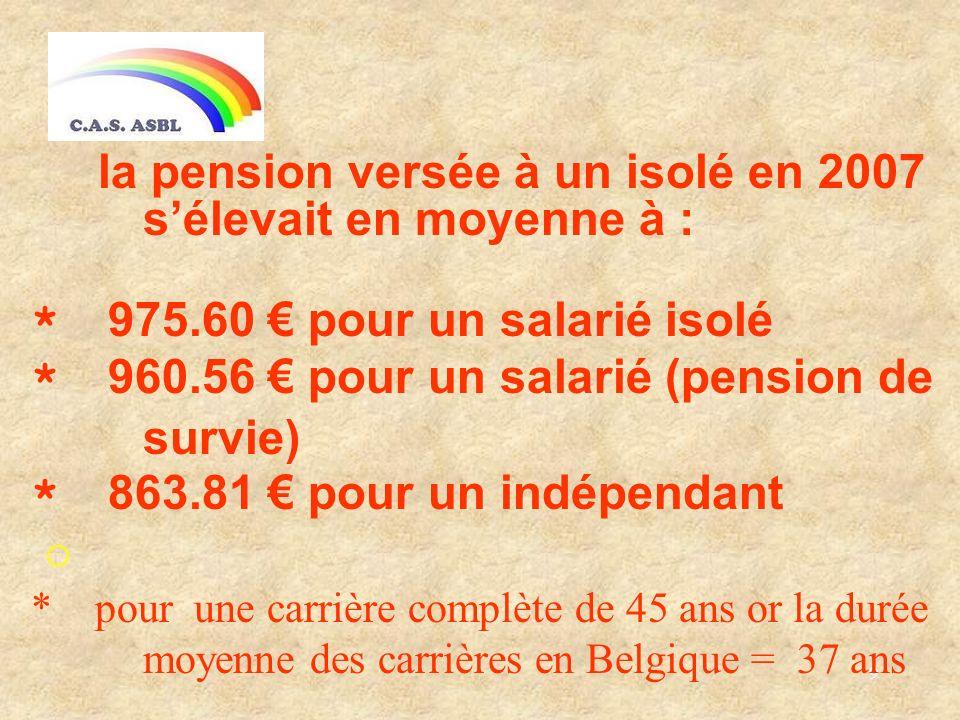 9 la pension versée à un isolé en 2007 sélevait en moyenne à : * 975.60 pour un salarié isolé * 960.56 pour un salarié (pension de survie) * 863.81 pour un indépendant o * pour une carrière complète de 45 ans or la durée moyenne des carrières en Belgique = 37 ans
