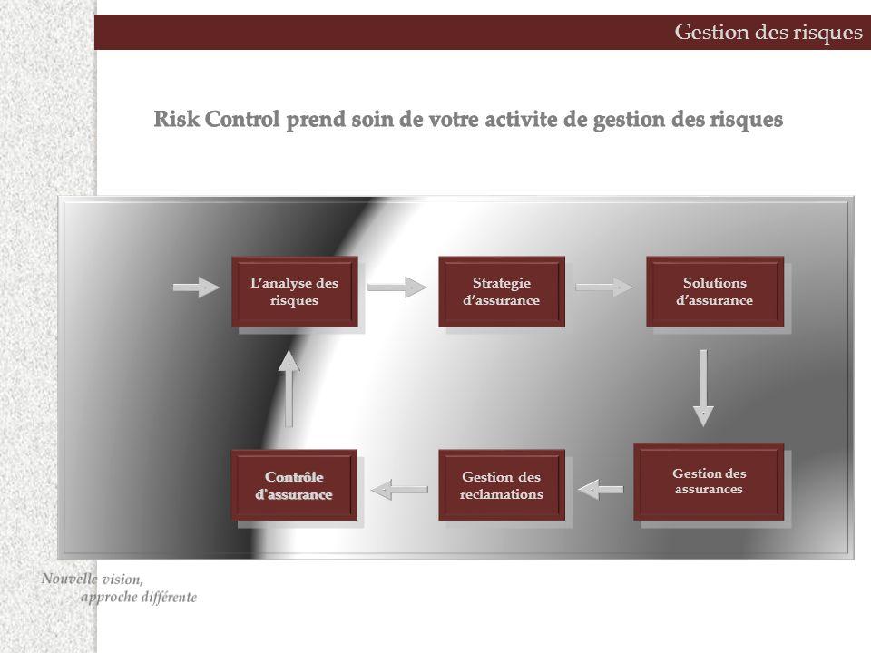 Gestion des risques Lanalyse des risques Strategie dassurance Solutions dassurance Contrôle d assurance Gestion des reclamations Gestion des assurances