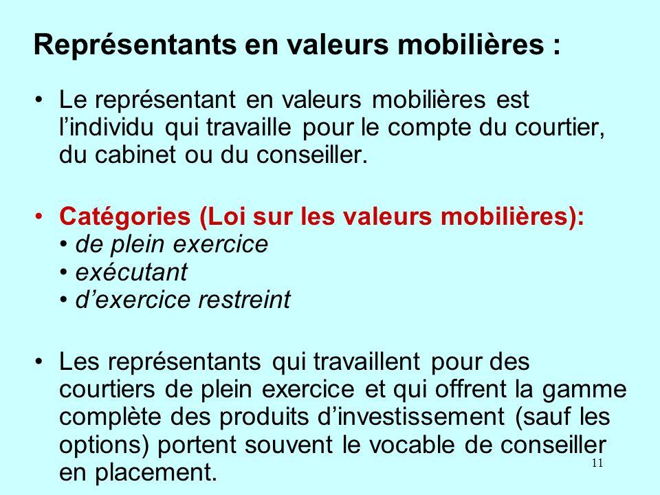 11 Représentants en valeurs mobilières : Le représentant en valeurs mobilières est lindividu qui travaille pour le compte du courtier, du cabinet ou du conseiller.