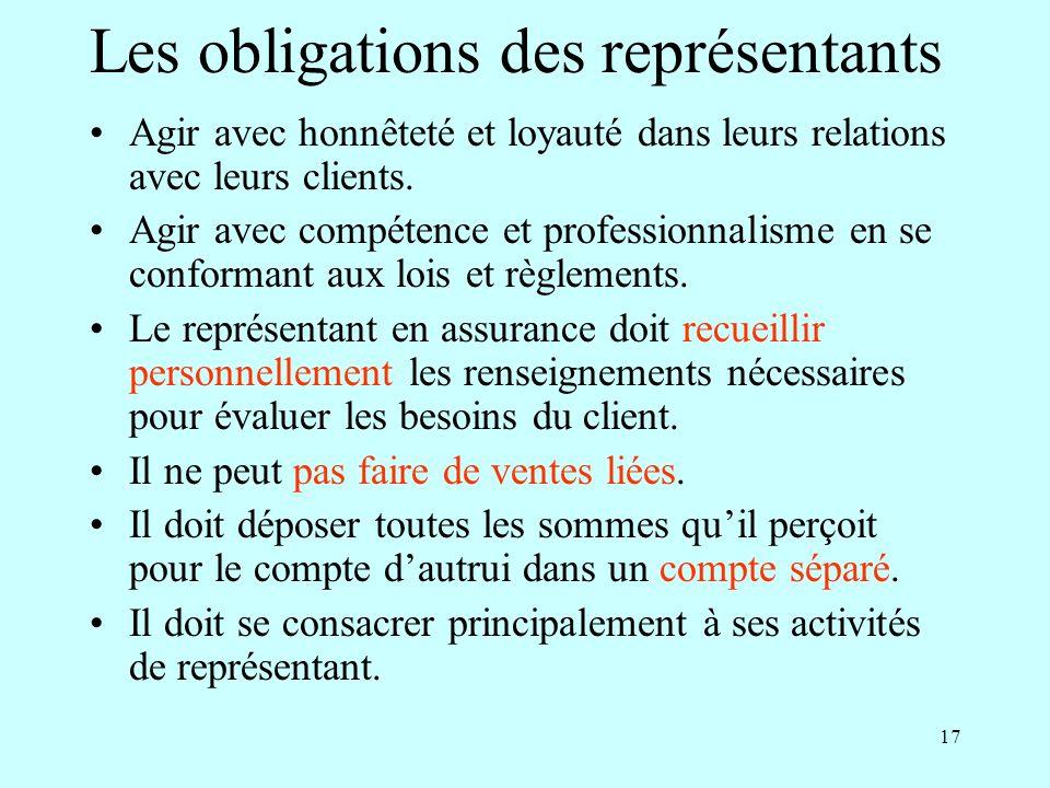17 Les obligations des représentants Agir avec honnêteté et loyauté dans leurs relations avec leurs clients.