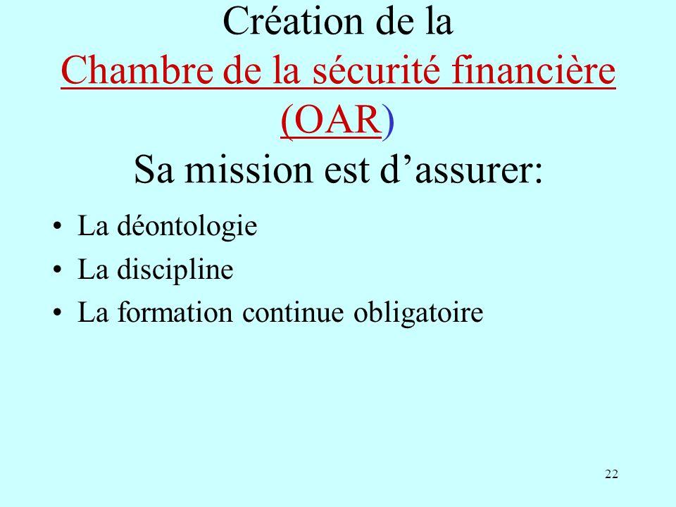 22 Création de la Chambre de la sécurité financière (OAR) Sa mission est dassurer: Chambre de la sécurité financière (OAR La déontologie La discipline La formation continue obligatoire