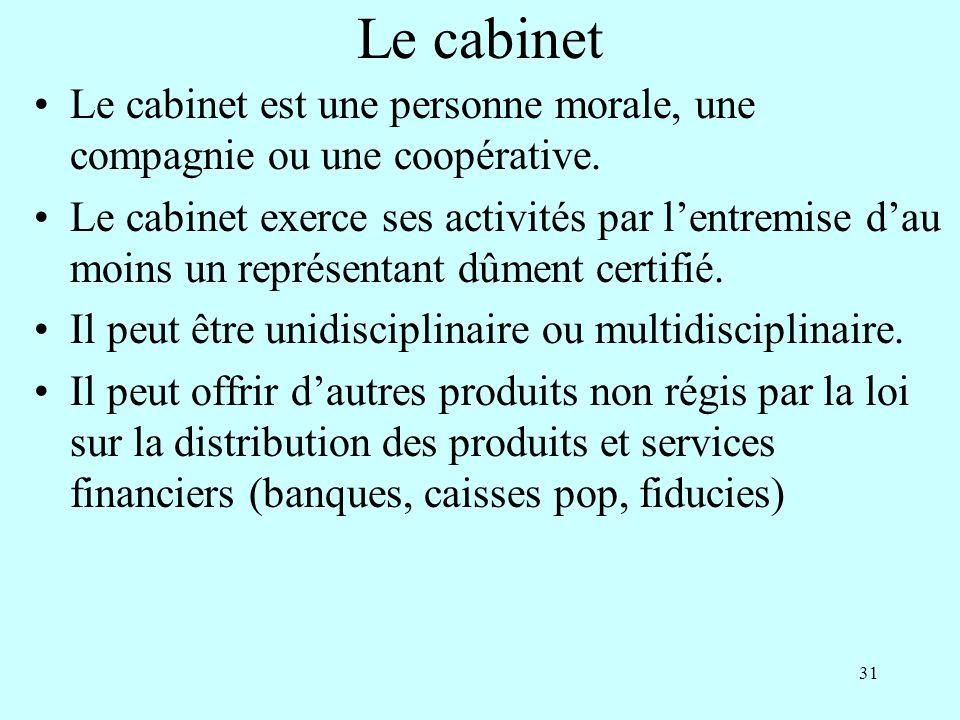 31 Le cabinet Le cabinet est une personne morale, une compagnie ou une coopérative.