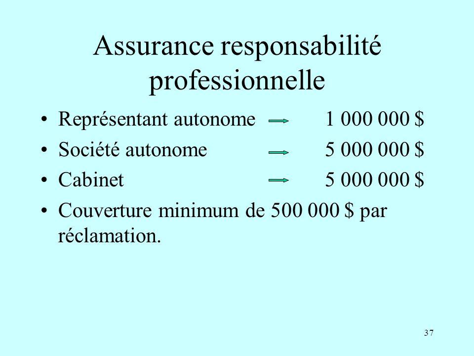 37 Assurance responsabilité professionnelle Représentant autonome1 000 000 $ Société autonome5 000 000 $ Cabinet5 000 000 $ Couverture minimum de 500 000 $ par réclamation.