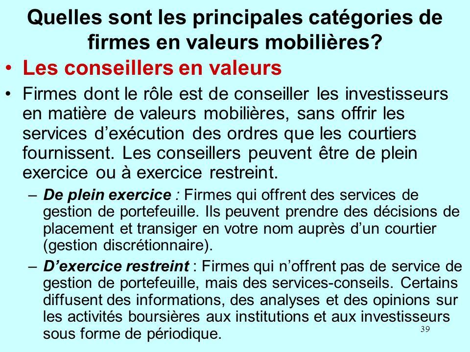 39 Quelles sont les principales catégories de firmes en valeurs mobilières.