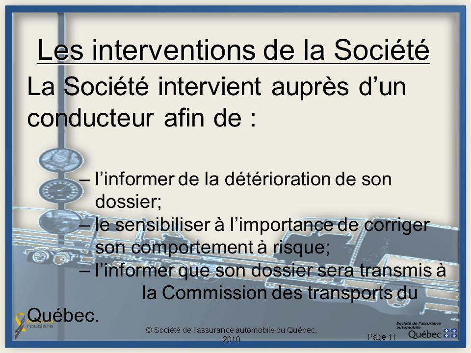 Les interventions de la Société La Société intervient auprès dun conducteur afin de : – linformer de la détérioration de son dossier; – le sensibilise