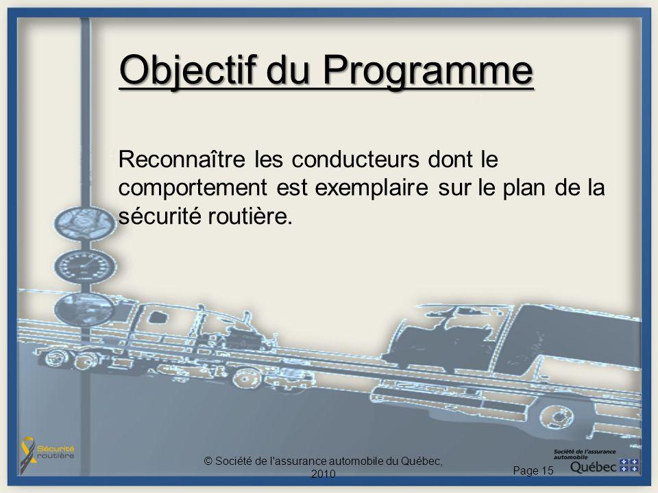 Objectif du Programme Reconnaître les conducteurs dont le comportement est exemplaire sur le plan de la sécurité routière. © Société de l'assurance au