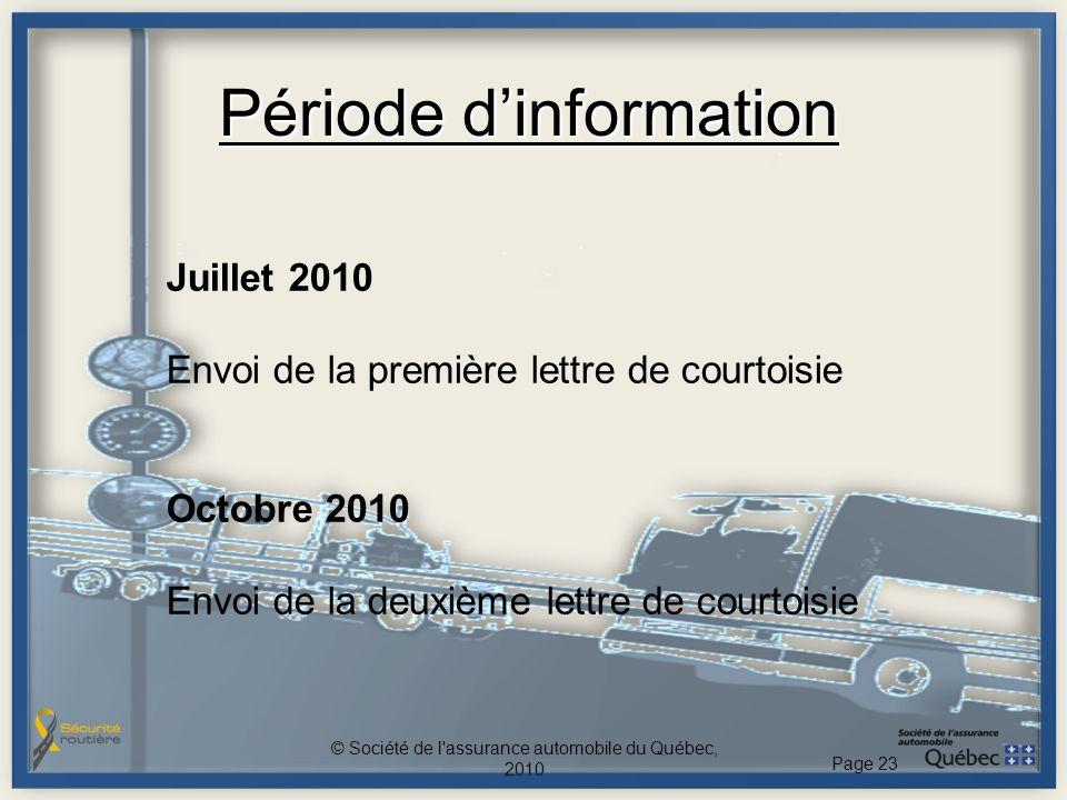 Période dinformation Juillet 2010 Envoi de la première lettre de courtoisie Octobre 2010 Envoi de la deuxième lettre de courtoisie © Société de l assurance automobile du Québec, 2010 Page 23