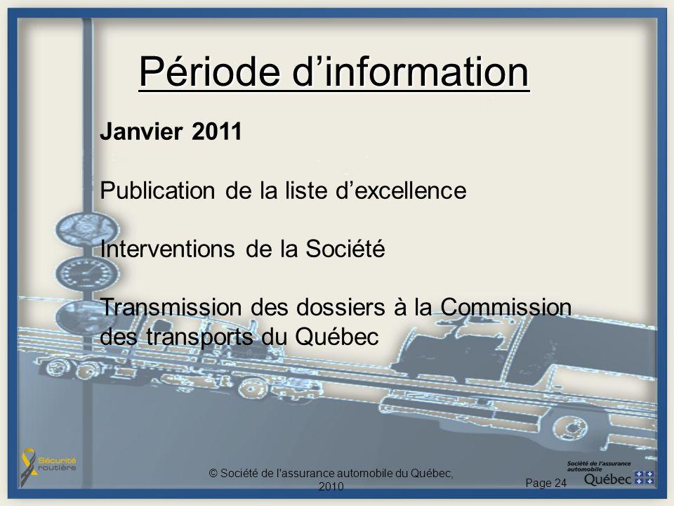 Période dinformation Janvier 2011 Publication de la liste dexcellence Interventions de la Société Transmission des dossiers à la Commission des transp
