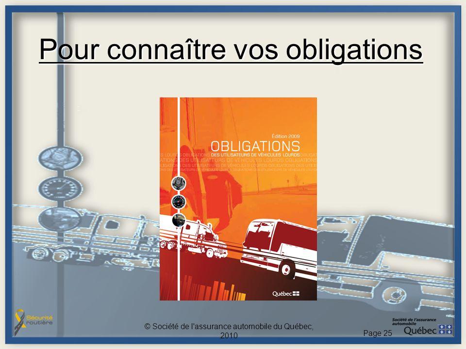 Pour connaître vos obligations © Société de l assurance automobile du Québec, 2010 Page 25