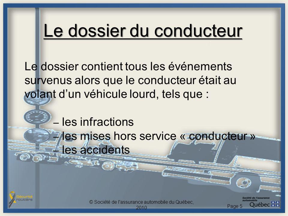 Le dossier du conducteur Le dossier contient tous les événements survenus alors que le conducteur était au volant dun véhicule lourd, tels que : – les
