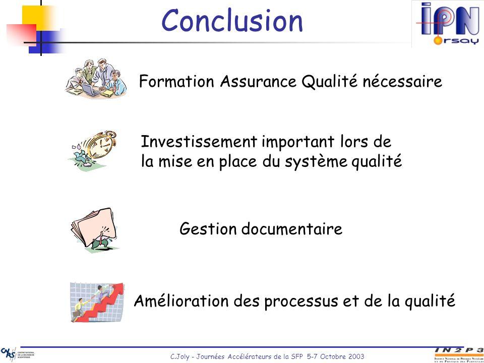 C.Joly - Journées Accélérateurs de la SFP 5-7 Octobre 2003 Conclusion Investissement important lors de la mise en place du système qualité Gestion doc