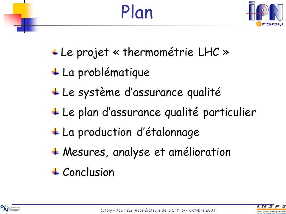 C.Joly - Journées Accélérateurs de la SFP 5-7 Octobre 2003 Plan Le projet « thermométrie LHC » La problématique Le système dassurance qualité Le plan