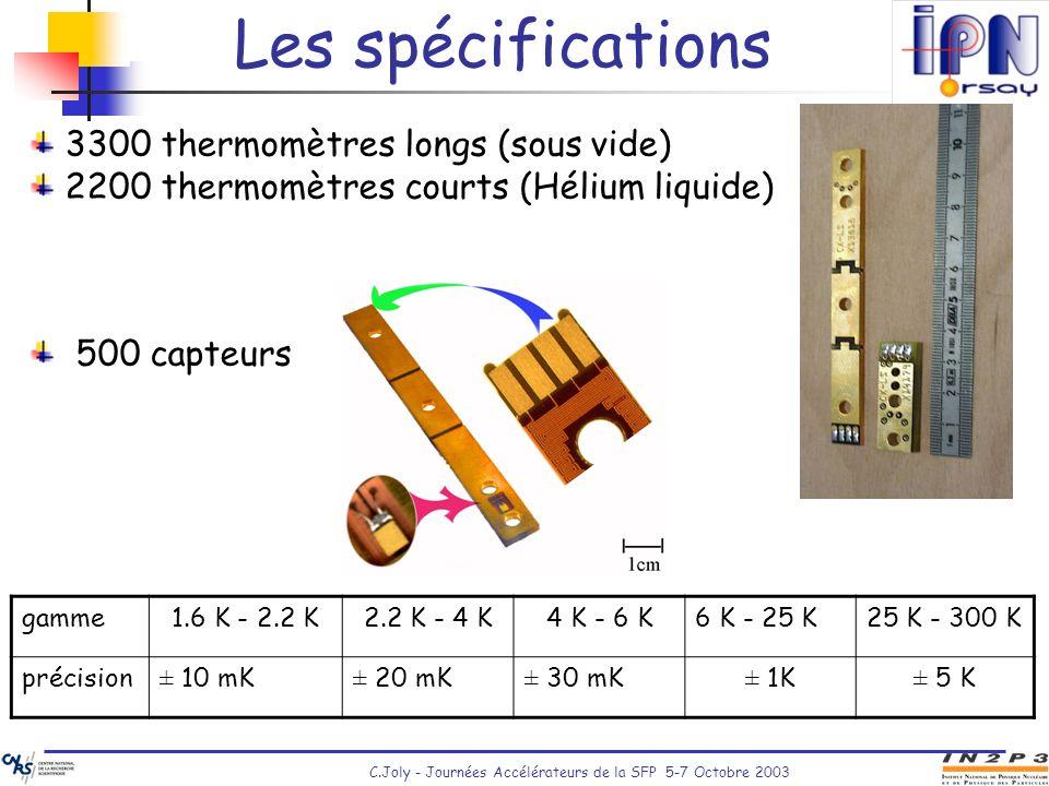 C.Joly - Journées Accélérateurs de la SFP 5-7 Octobre 2003 3300 thermomètres longs (sous vide) 2200 thermomètres courts (Hélium liquide) 500 capteurs
