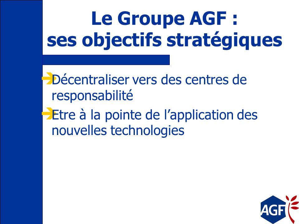 Le Groupe AGF : ses objectifs stratégiques Créer de la valeur Augmenter ses parts de marché Mettre le service au client au cœur des décisions Offrir a