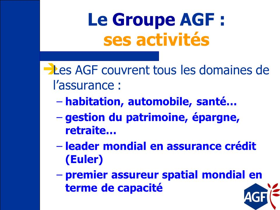 Le Groupe AGF : ses activités Les AGF couvrent tous les domaines de lassurance : –habitation, automobile, santé… –gestion du patrimoine, épargne, retraite… –leader mondial en assurance crédit (Euler) –premier assureur spatial mondial en terme de capacité