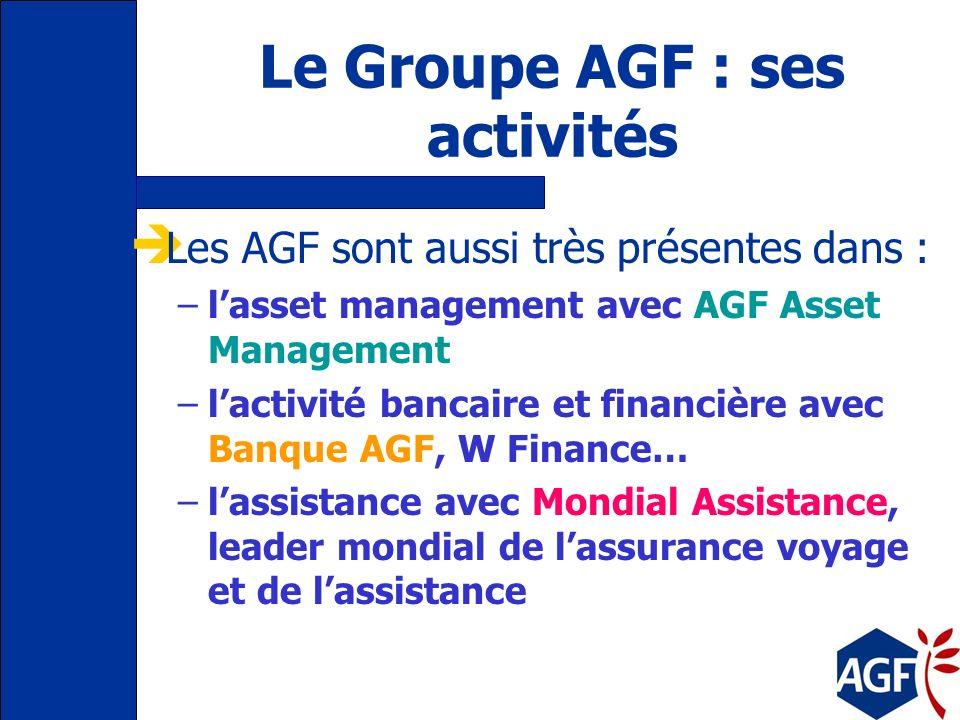 Le Groupe AGF : ses activités Les AGF sont aussi très présentes dans : –lasset management avec AGF Asset Management –lactivité bancaire et financière avec Banque AGF, W Finance… –lassistance avec Mondial Assistance, leader mondial de lassurance voyage et de lassistance