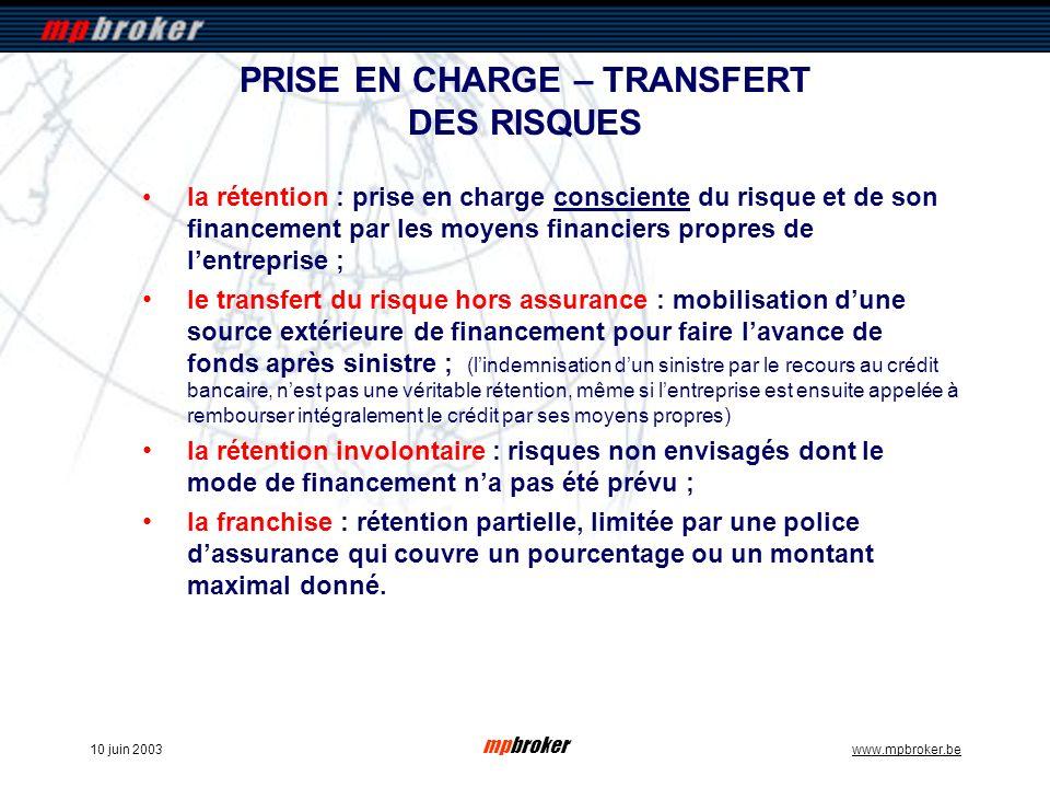 mpbroker www.mpbroker.be10 juin 2003 PRISE EN CHARGE – TRANSFERT DES RISQUES la rétention : prise en charge consciente du risque et de son financement