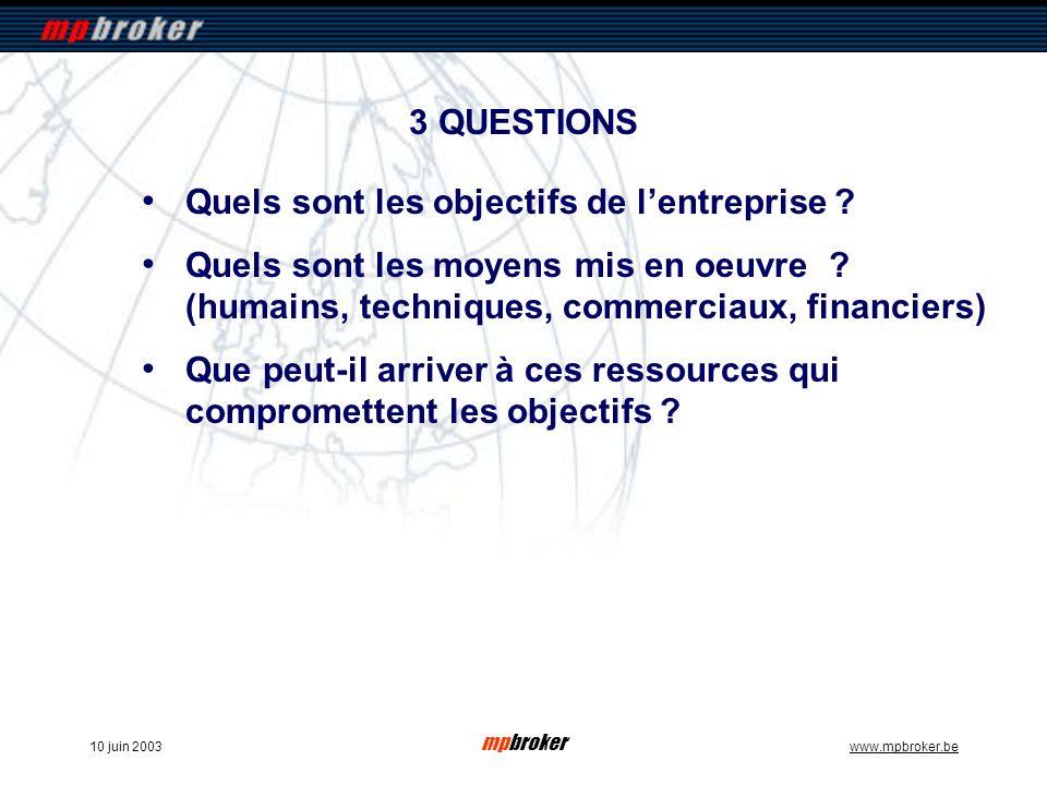 mpbroker www.mpbroker.be10 juin 2003 3 QUESTIONS Quels sont les objectifs de lentreprise ? Quels sont les moyens mis en oeuvre ? (humains, techniques,