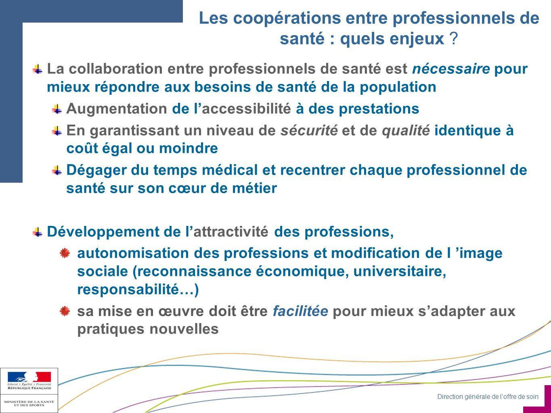 Direction générale de loffre de soin Les coopérations entre professionnels de santé : quels enjeux .